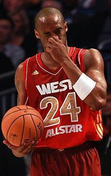 Kobe Bryant broke his nose on a hard foul from Dwyane Wade in the third quarter