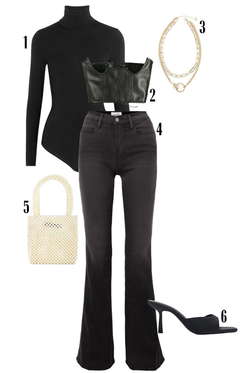 """<p>Full coverage can be even more sexy than showing skin. Flaunt your figure with this leather corset layered over your turtleneck and a pair of dark denim that are slim through the thighs and flare at the hem. This look accentuates your curves while leaving everything to the imagination. </p><p>Shop the pieces: <em><a href=""""https://www.net-a-porter.com/en-us/shop/product/wolford/colorado-thong-bodysuit/618045"""" rel=""""nofollow noopener"""" target=""""_blank"""" data-ylk=""""slk:Wolford Colorado Bodysuit"""" class=""""link rapid-noclick-resp"""">Wolford Colorado Bodysuit</a></em><em>,</em> $250; <em><a href=""""https://www.farfetch.com/shopping/women/manokhi-cut-out-corset-belt-item-15499995.aspx?storeid=9421"""" rel=""""nofollow noopener"""" target=""""_blank"""" data-ylk=""""slk:Manokhi Corset Belt"""" class=""""link rapid-noclick-resp"""">Manokhi Corset Belt</a></em>, $344; <em><a href=""""https://www.shopbop.com/lobster-claw-pendant-necklace-jules/vp/v=1/1598588255.htm"""" rel=""""nofollow noopener"""" target=""""_blank"""" data-ylk=""""slk:Jules Smith Necklace"""" class=""""link rapid-noclick-resp"""">Jules Smith Necklace</a></em>, a $70; <em><a href=""""https://www.net-a-porter.com/en-us/shop/product/frame/le-high-flare-jeans/1293228"""" rel=""""nofollow noopener"""" target=""""_blank"""" data-ylk=""""slk:Frame Denim"""" class=""""link rapid-noclick-resp"""">Frame Denim</a></em><em>,</em> $240; <em><a href=""""https://www.revolve.com/lovers-friends-arielle-pearl-mini-tote/dp/LOVF-WY52/"""" rel=""""nofollow noopener"""" target=""""_blank"""" data-ylk=""""slk:Arielle Pearl Mini Bag"""" class=""""link rapid-noclick-resp"""">Arielle Pearl Mini Bag</a></em>, $119, <em><a href=""""https://www.zara.com/us/en/square-toe-heeled-sandals-p12701710.html?v1=86419039&v2=1718947"""" rel=""""nofollow noopener"""" target=""""_blank"""" data-ylk=""""slk:Zara Sandals"""" class=""""link rapid-noclick-resp"""">Zara Sandals</a></em>, $50</p>"""