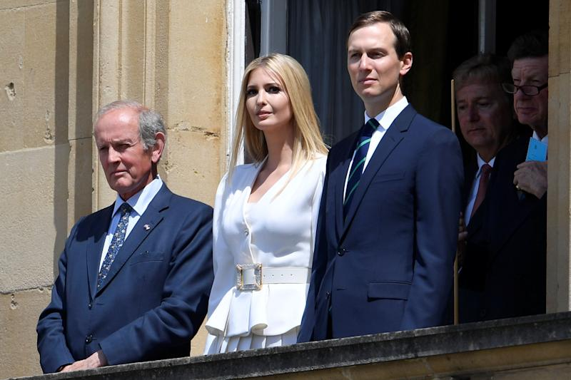 Ivanka Trump (C) and her husband special advisor to the US president Jared Kushner (R) watch during a welcome ceremony at Buckingham Palace in central London on June 3, 2019, on the first day of the US president and First Lady's three-day State Visit to the UK. - Britain rolled out the red carpet for US President Donald Trump on June 3 as he arrived in Britain for a state visit already overshadowed by his outspoken remarks on Brexit. (Photo by TOBY MELVILLE / POOL / AFP) (Photo credit should read TOBY MELVILLE/AFP/Getty Images)