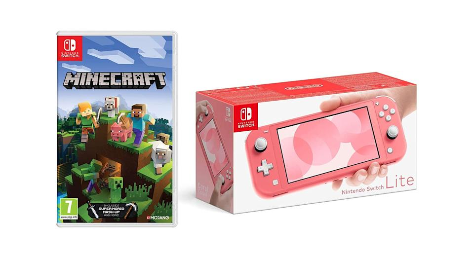 Nintendo Switch Lite - Coral + Minecraft