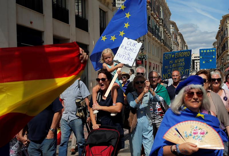 British residents in Spain march during an anti-Brexit demonstration, in Malaga, Spain September 22, 2019. REUTERS/Jon Nazca