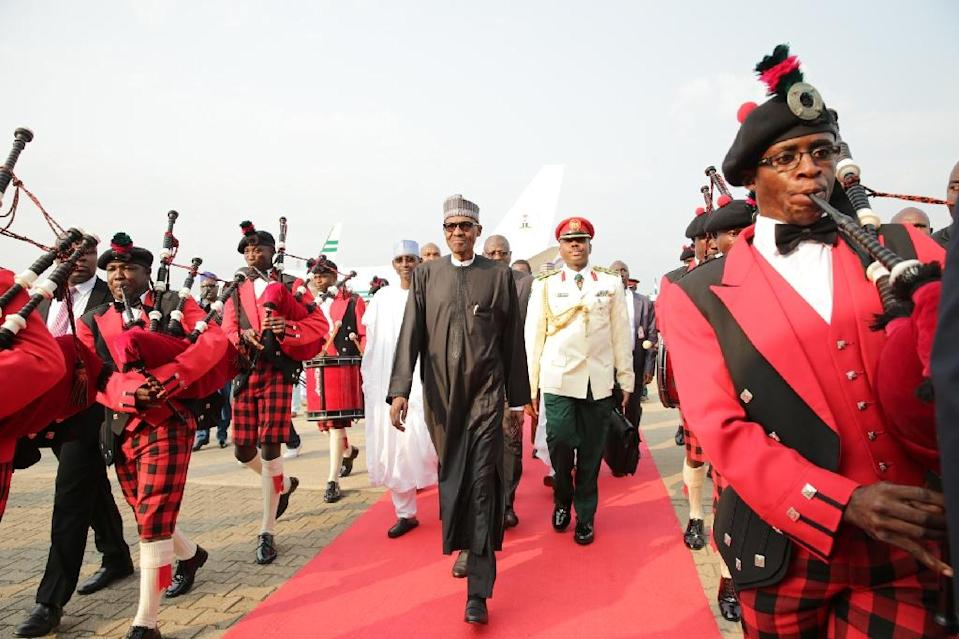 President Muhammadu Buhari returned to Nigeria after a long absence for medical treatment in Britain (AFP Photo/SUNDAY AGHAEZE)