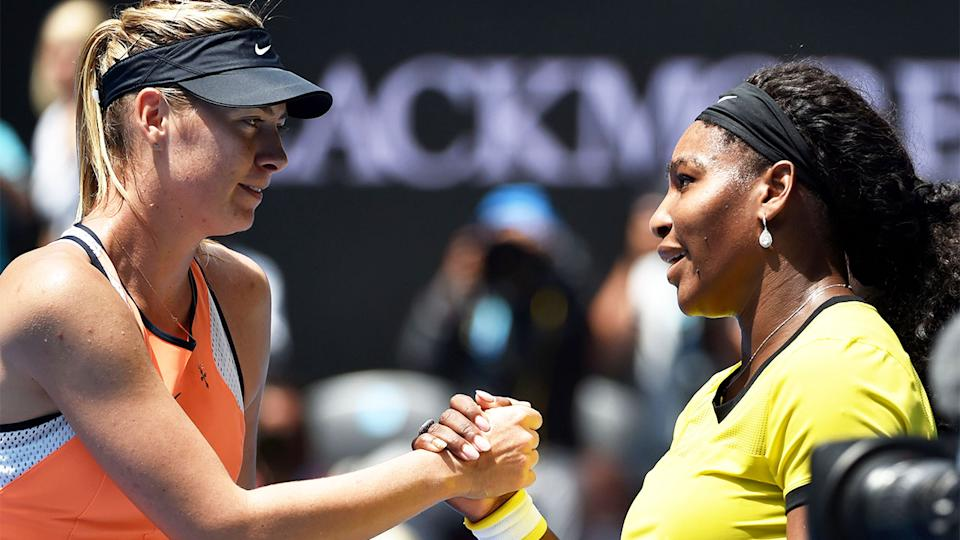 Serena Williams (pictured right) and Maria Sharapova (pictured left) shaking hands at the end of the match.