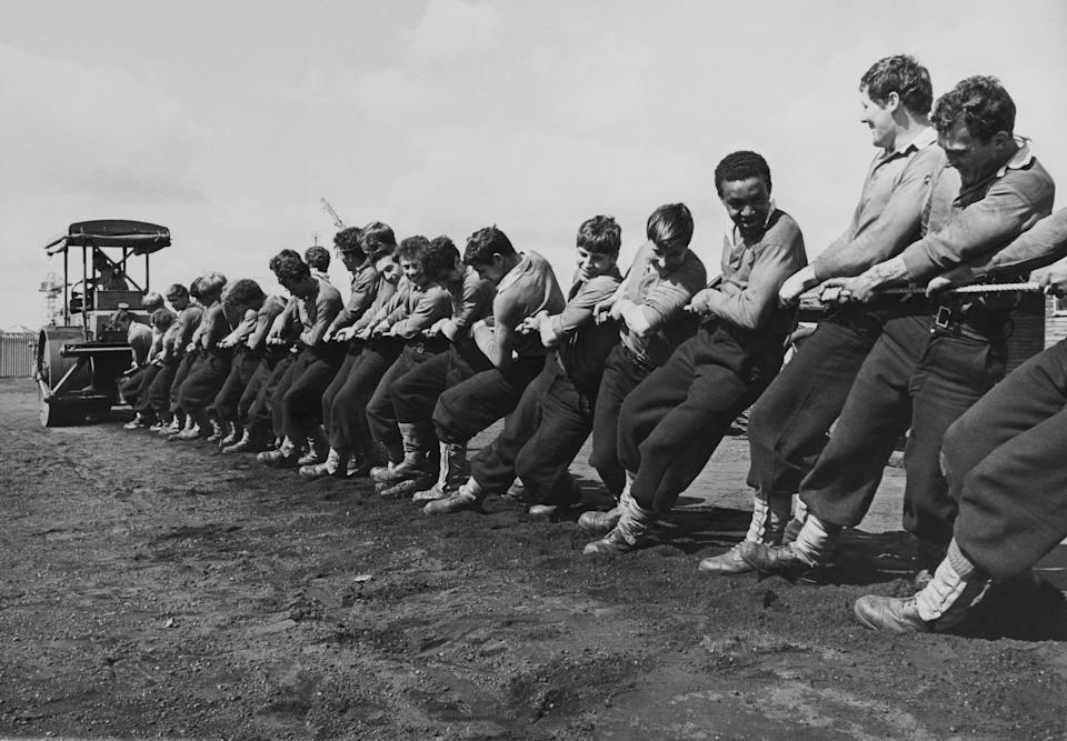 Competitors train for Tug Of War at Plymouth in England in 1968.