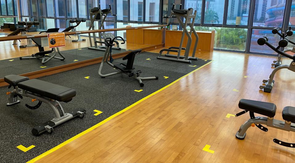 Equipment at the Jurong East ActiveSG Gym is adjusted to observe the two-metre safe distancing rule. (PHOTO: Chia Han Keong/Yahoo News Singapore)
