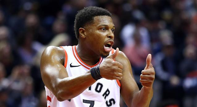 Kyle Lowry would fit into an NHL dressing room just fine. (Getty)