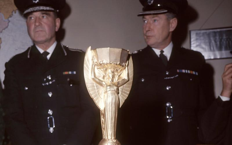The recovered World Cup trophy at Cannon Row police station, London, in 1966 - PA Archive