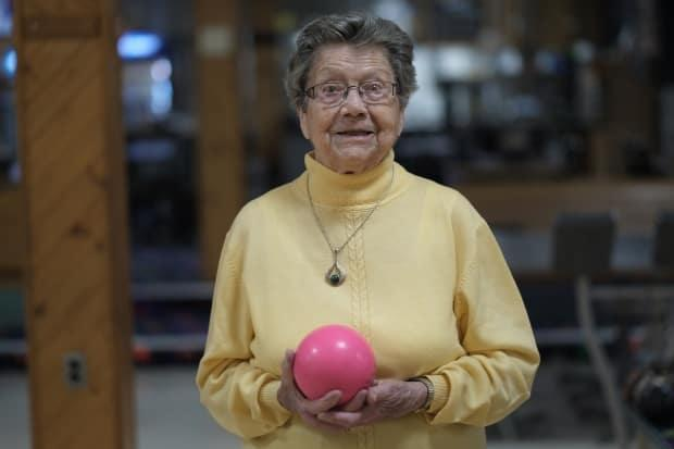 Margaret Houben is 94 and has been part of the informal seniors bowling group at Orillia Bowl for 15 years. 'What I like to see here is the bowling alley filled from one end to the other one, everybody being happy and bowling.'
