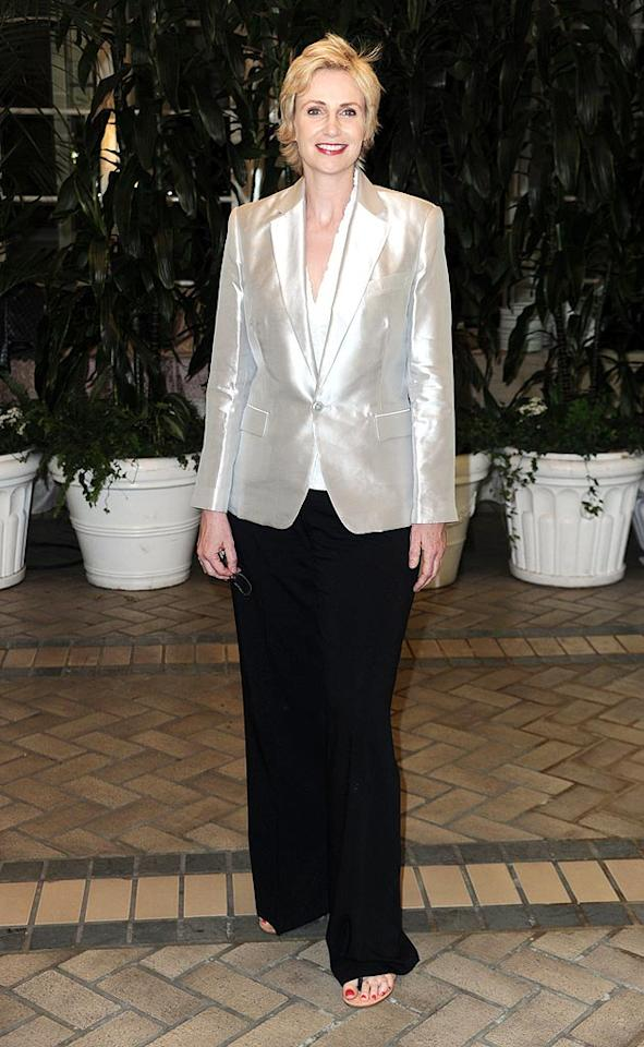 """Glee"" coach Sue Sylvester, Jane Lynch, traded her signature track suit for a classy Ralph Lauren pant suit. Frazer Harrison/<a href=""http://www.gettyimages.com/"" target=""new"">GettyImages.com</a> - July 28, 2010"