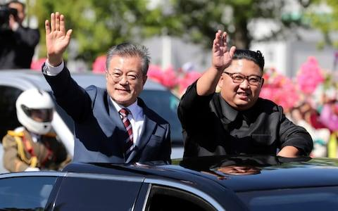 South Korean President Moon Jae-in was given a warm welcome in Pyongyang in September - Credit: Pool/AP