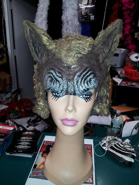 "This photo provided by Ricky's NYC shows a custom made headpiece in the likeness of what the lead singer wears in the viral internet music video ""What the Fox Say?"" by Ylvis. What does the fox say? Ka-ching at the moment, at least for some Halloween costume sellers and two Norwegian TV hosts, Vegard and Bard Ylvisaker, known as Ylvis (ILL-vis), who begged the question in a goofy video that landed them on U.S. talk shows and music charts. (AP Photo/Ricky's NYC, Lorne Lucree)"
