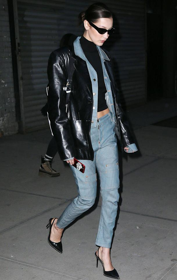 <p>On 5 February, Bella Hadid gave lessons in the chic Canadian tux. The super teamed a tailored denim co-ord with a leather jacket and her signature sunnies for a stroll in New York. <em>[Photo: Rex]</em> </p>