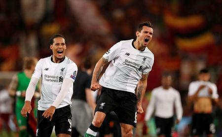 Soccer Football - Champions League Semi Final Second Leg - AS Roma v Liverpool - Stadio Olimpico, Rome, Italy - May 2, 2018 Liverpool's Virgil van Dijk and Dejan Lovren celebrate after the match Action Images via Reuters/John Sibley