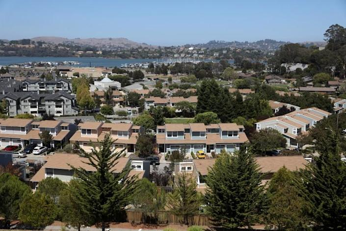 MARIN CITY, CA - AUGUST 07: Marin City with Richardson Bay in the background on Friday, Aug. 7, 2020 in Marin City, CA. Rising sea level and ground water threatens Marin City and Sausalito coastal area. (Gary Coronado / Los Angeles Times)
