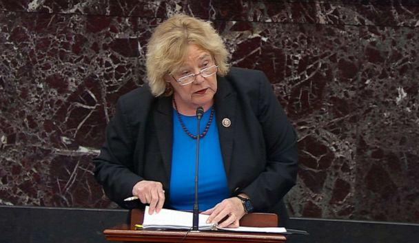 PHOTO: House impeachment manager Rep. Zoe Lofgren speaks during opening arguments in the Senate impeachment trial of President Donald Trump in the Senate Chamber, at the U.S. Capitol, Jan. 21, 2020, in Washington, D.C. (ABC News)