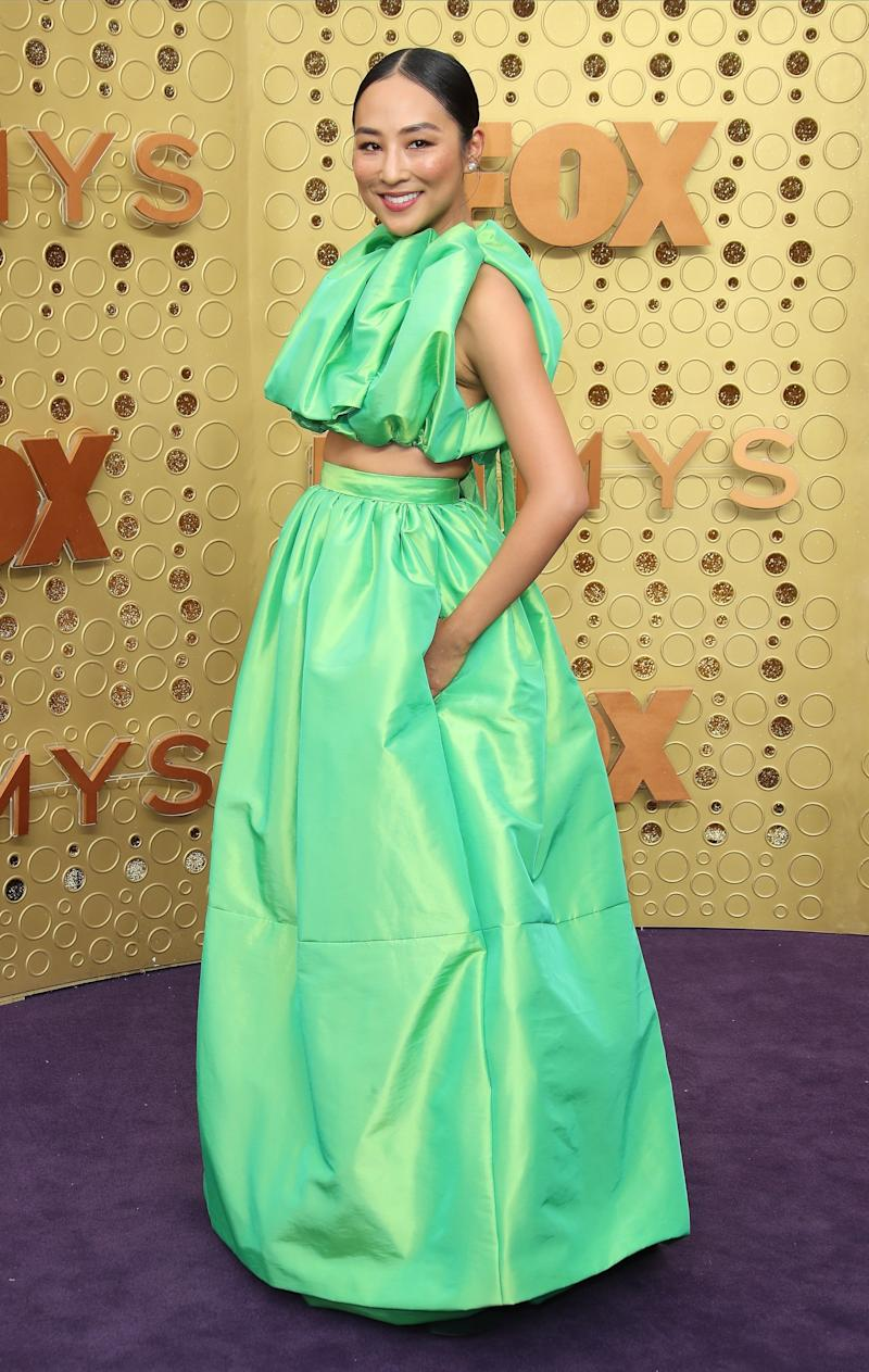 Greta Lee wearing a look from Christopher John Rogers's fourth collection, spring/summer 2020, at the 71st Emmy Awards in Los Angeles, September 2019.