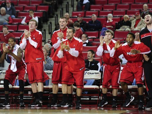 The Youngstown State bench reacts to a team point during an NCAA college basketball game against Georgia on Monday, Nov. 12, 2012, in Athens, Ga. Youngstown won 68-56. (AP Photo/Athens Banner-Herald, Richard Hamm)