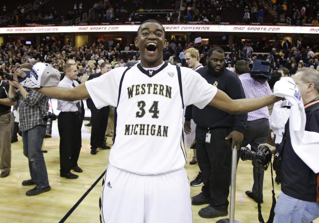 Western Michigan's A.J. Avery celebrates after defeating Toledo 98-77 in an NCAA college basketball championship game at the Mid-American Conference tournament on Saturday, March 15, 2014, in Cleveland. (AP Photo/Tony Dejak)