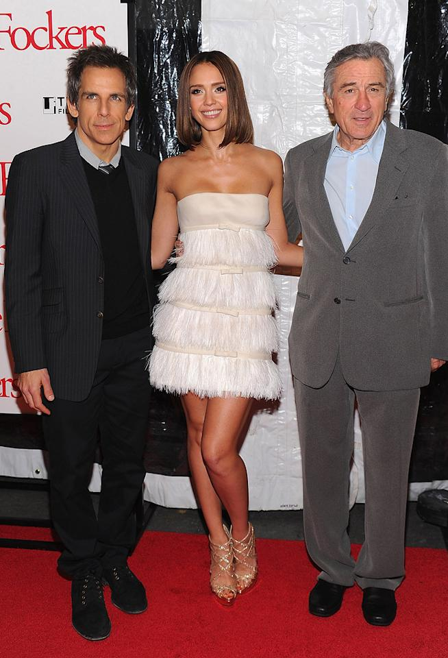 "<a href=""http://movies.yahoo.com/movie/contributor/1800019193"">Ben Stiller</a>, <a href=""http://movies.yahoo.com/movie/contributor/1800019057"">Jessica Alba</a> and <a href=""http://movies.yahoo.com/movie/contributor/1800010759"">Robert De Niro</a> at the New York City premiere of <a href=""http://movies.yahoo.com/movie/1810110296/info"">Little Fockers</a> on December 15, 2010."