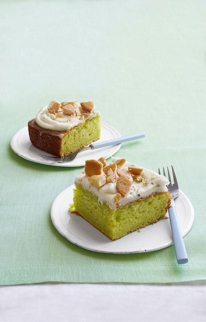 """<p>For maximum flavor, don't skip adding the lemon pudding on top. </p><p><strong><a href=""""https://www.womansday.com/food-recipes/food-drinks/recipes/a53696/key-lime-poke-cake/"""" rel=""""nofollow noopener"""" target=""""_blank"""" data-ylk=""""slk:Get the Key Lime Poke Cake recipe."""" class=""""link rapid-noclick-resp""""><em>Get the Key Lime Poke Cake recipe.</em></a></strong></p>"""