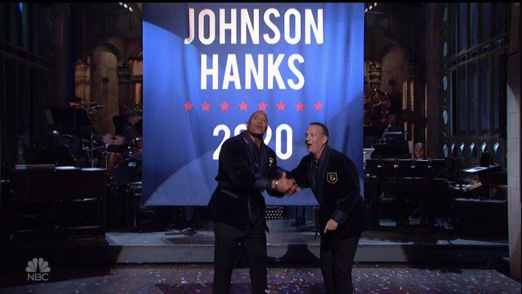 Johnson and Tom Hanks jokingly 'announce' their presidential run on Saturday Night Live, May 2017 (Credit: NBC/WENN.com)