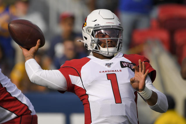 Cardinals quarterback Kyler Murray has shown off his arm and legs this season. (AP Photo/Mark J. Terrill)