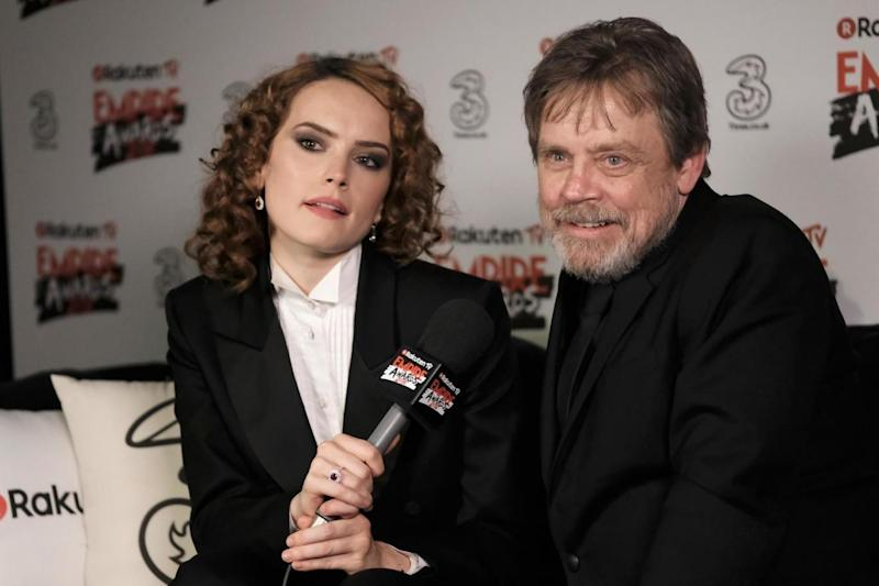 The Force is strong: Ridley with her Star Wars co-star Mark Hamill (Getty Images)