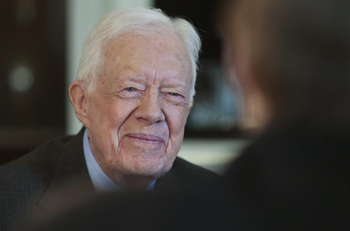 """Former U.S. President Jimmy Carter speaks during an interview on Monday March 24, 2014 in New York. Carter says he doesn't support the Palestinian-led """"boycott, divest, sanction"""" campaign against Israel but says products made in Israel-occupied Palestinian territories should be clearly labeled. (AP Photo/Bebeto Matthews)"""