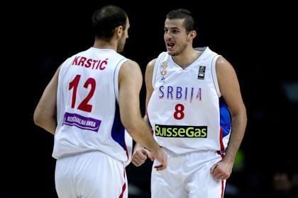 Nemanja Bjelica, right, during the 2014 FIBA Basketball World Cup in Madrid. (Getty)