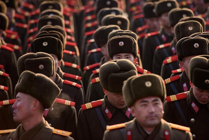 North Korean troops pay tribute to late leader Kim Jong Il in Pyongyang (AFP Photo/Ed JONES)