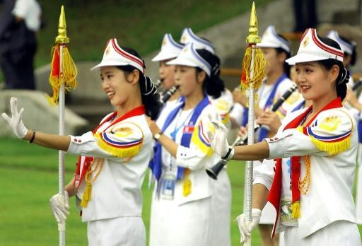 North Korean cheer learders perform during the welcoming ceremony for the 2003 World Students Games in Daegu, South Korea