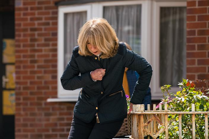 FROM ITV  STRICT EMBARGO - No Use Before Tuesday 22nd June 2021  Coronation Street - Ep 10364  Wednesday 30th June 2021 - 1st Ep   Gail Rodweel [HELEN WORTH] heads outside for some air where Sam Blakeman [JUDE RIORDAN] finds her doubled over and clutching her chest in pain.  Picture contact David.crook@itv.com   Photographer - Danielle Baguley  This photograph is (C) ITV Plc and can only be reproduced for editorial purposes directly in connection with the programme or event mentioned above, or ITV plc. Once made available by ITV plc Picture Desk, this photograph can be reproduced once only up until the transmission [TX] date and no reproduction fee will be charged. Any subsequent usage may incur a fee. This photograph must not be manipulated [excluding basic cropping] in a manner which alters the visual appearance of the person photographed deemed detrimental or inappropriate by ITV plc Picture Desk. This photograph must not be syndicated to any other company, publication or website, or permanently archived, without the express written permission of ITV Picture Desk. Full Terms and conditions are available on  www.itv.com/presscentre/itvpictures/terms