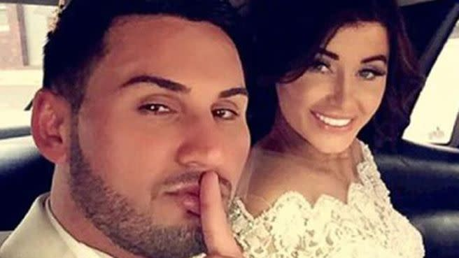 Pictured with his wife on his wedding day, Salim upset some residents when he closed off streets for the celebration. Photo: 7News
