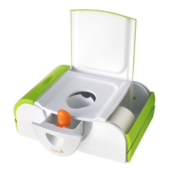 This product image released by Boon shows the Boon Potty Bench with side storage spaces for books, training supplies and wipes. For some parents, summertime is potty training time. And like so many aspects of life with kids, potty training means gear, lots of gear. The choices in potty seats and chairs proliferated and sprouted all manner of bells and whistles. (AP Photo/Boon)