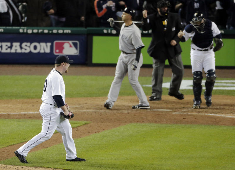 Detroit Tigers' Phil Coke reacts after striking out New York Yankees' Raul Ibanez for the final out during Game 3 of the American League championship series Tuesday, Oct. 16, 2012, in Detroit. (AP Photo/Charlie Riedel)