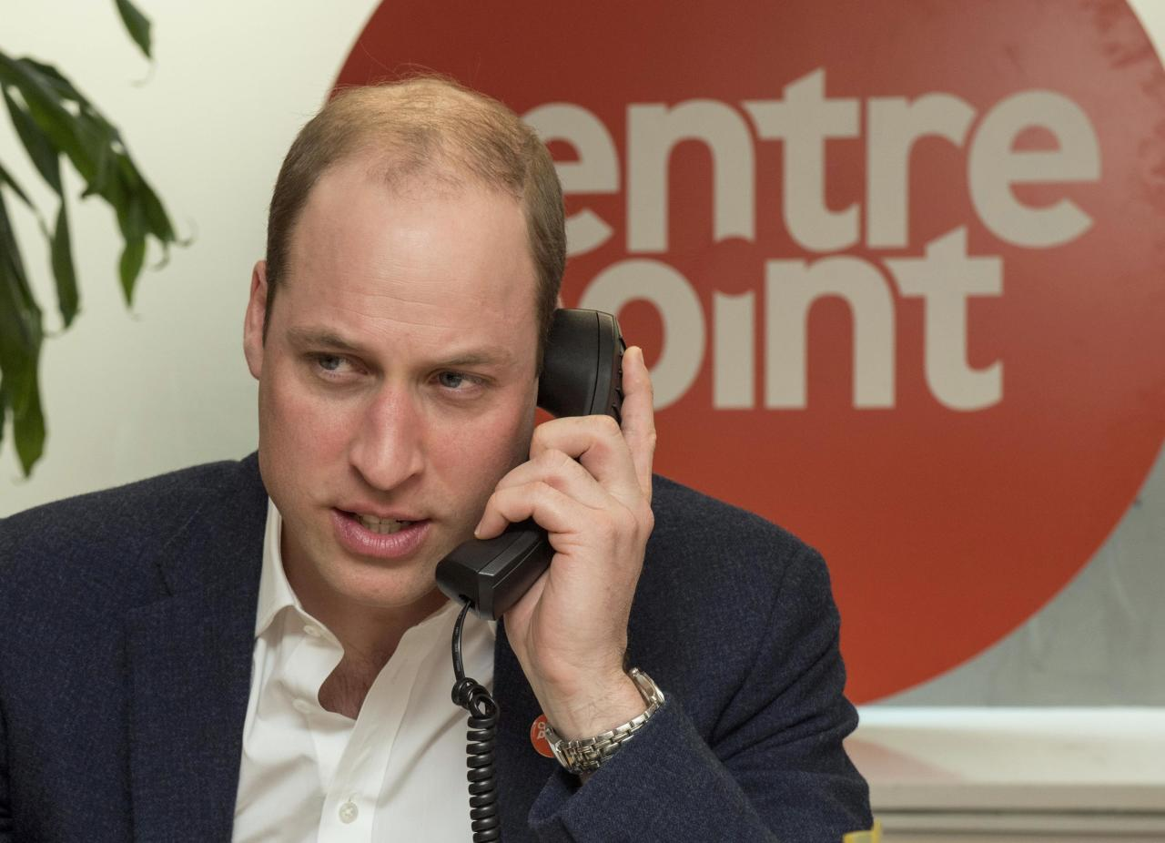 Britain's Prince William launches the Centrepoint helpline at Centrepoint in London, Britain, February 13, 2017. REUTERS/Arthur Edwards/Pool