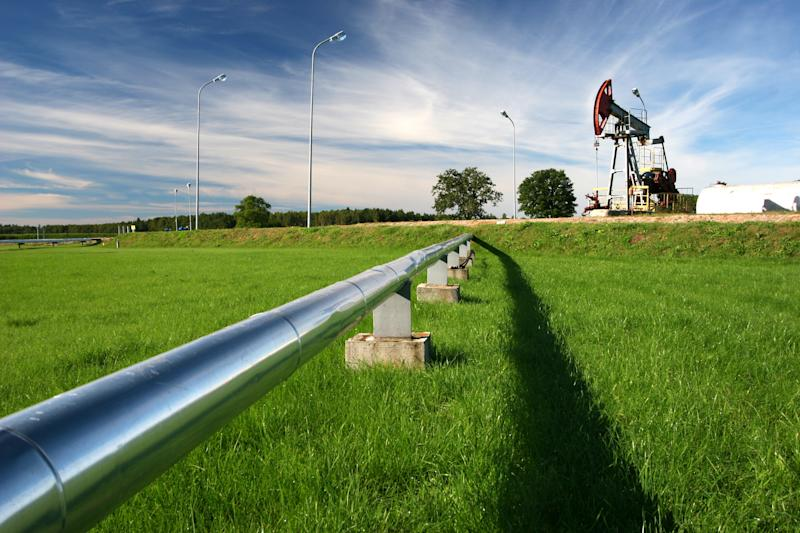 A pipeline heading out of an oil pump.