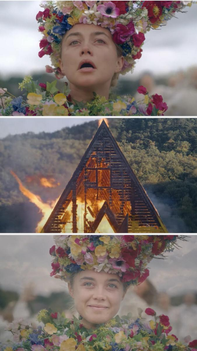 """Dani sobbing as the wooden temple is burned down and then smiling on """"Midsommar"""""""