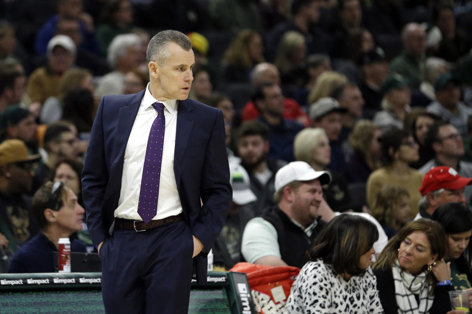 Oklahoma City Thunder head coach Billy Donovan during the first half of an NBA basketball game against the Milwaukee Bucks Wednesday, April 10, 2019, in Milwaukee. (AP Photo/Aaron Gash)