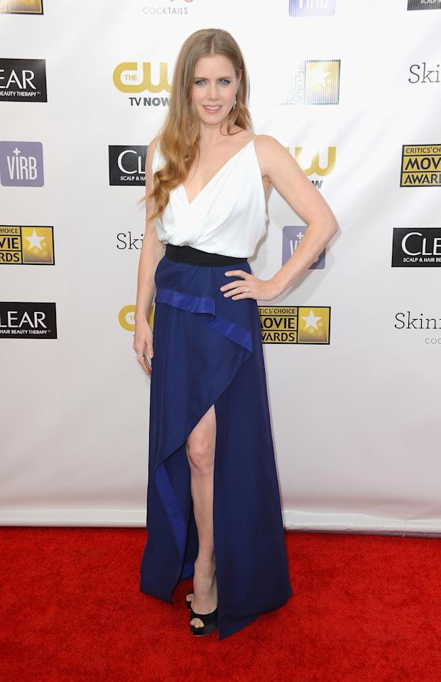 SANTA MONICA, CA - JANUARY 10:  Actress Amy Adams arrives at the 18th Annual Critics' Choice Movie Awards at Barker Hangar on January 10, 2013 in Santa Monica, California.  (Photo by Frazer Harrison/Getty Images)