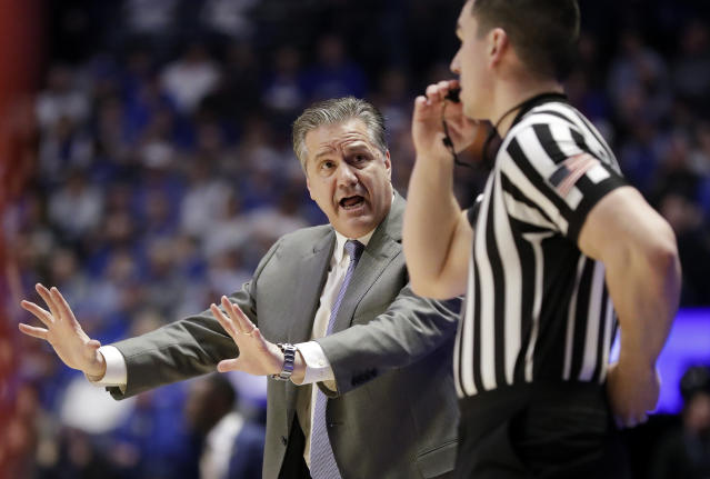 Kentucky head coach John Calipari argues a call in the first half of an NCAA college basketball game against Alabama at the Southeastern Conference tournament Friday, March 15, 2019, in Nashville, Tenn. (AP Photo/Mark Humphrey)
