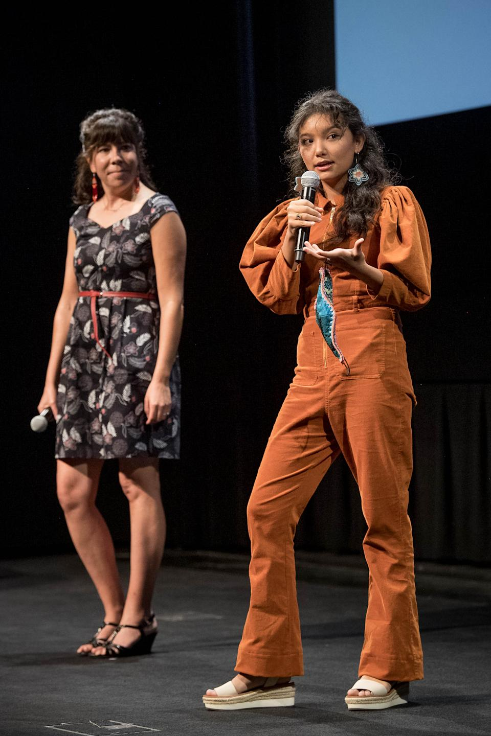 TORONTO, ONTARIO - SEPTEMBER 13: Tracey Deer and Kiawentiio speak onstage at the 2020 Toronto International Film Festival screening of 'Beans' at TIFF Bell Lightbox on September 13, 2020 in Toronto, Ontario. (Photo by Emma McIntyre/Getty Images)