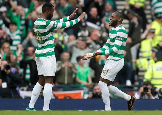 Soccer Football - Scottish Cup Semi Final - Celtic vs Rangers - Hampden Park, Glasgow, Britain - April 15, 2018 Celtic's Olivier Ntcham celebrates scoring their fourth goal with Moussa Dembele REUTERS/Russell Cheyne