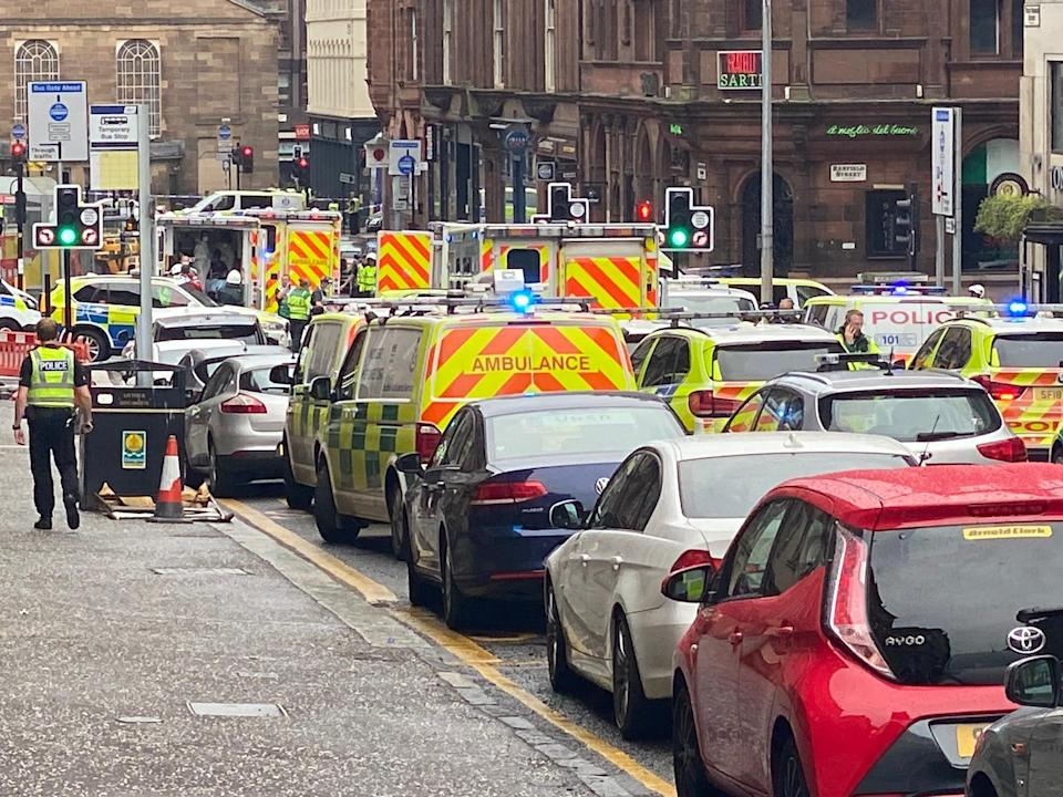 A police officer was among three people reportedly injured in the stabbing. (PA/@JATV_scotland)
