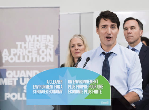 Prime Minister Justin Trudeau speaks to the media and students at Humber College regarding his government's new federally-imposed carbon tax in Toronto on Oct. 23, 2018.
