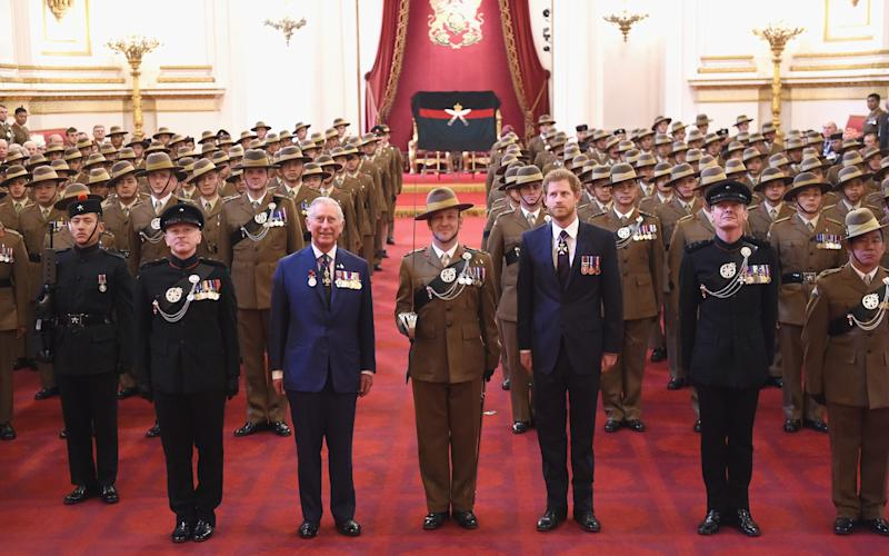 Prince of Wales and Prince Harry attend a medal presentation for The Royal Gurkha Rifles at Buckingham Palace