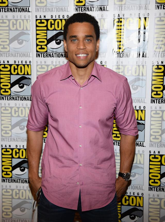 "Michael Ealy attends the ""Almost Human"" Press Room during Comic-Con International 2013 at Hilton San Diego Bayfront Hotel on July 19, 2013 in San Diego, California."