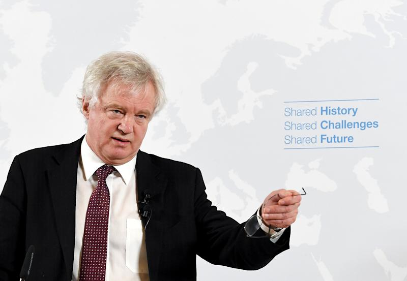 David Davis speaks in Vienna, Austria as he tries to reassure doubters of a bright future (Roland Schlager/AP)