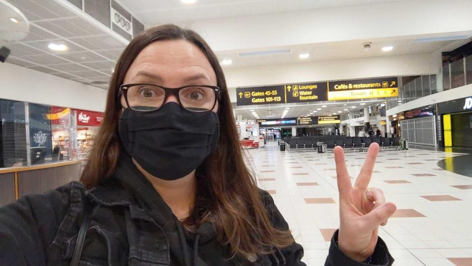 First in the airport the moment travel was permitted on 17 May 2021 (Cathy Adams)