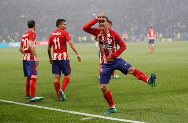 Soccer Football - Europa League Final - Olympique de Marseille vs Atletico Madrid - Groupama Stadium, Lyon, France - May 16, 2018 Atletico Madrid's Antoine Griezmann celebrates scoring their second goal REUTERS/Gonzalo Fuentes TPX IMAGES OF THE DAY